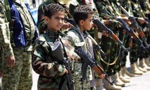 Yemeni children hold weapons during a gathering in the capital Sanaa to show support for Houthi rebels.
