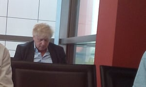 Johnson photographed at an airport in Italy after a Lebedev party in April 2018