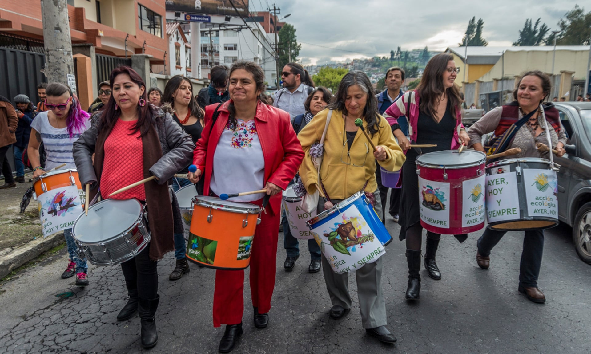 Acción Ecológica representatives and supporters walk through Quito yesterday to the Ministry of Environment. Photograph: Zitouna Auryn