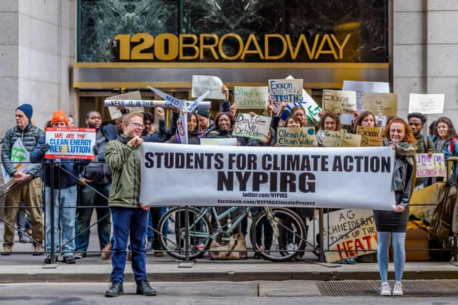 Activists hold a press conference in Manhattan and delivered a letter to then New York attorney general Eric Schneiderman in support of his investigation of ExxonMobil in 2017.