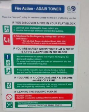 Fire notice in Adair Tower