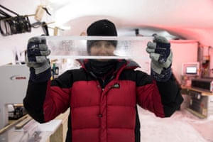 Prof. Siwan Davies holding ice with visible folding layers
