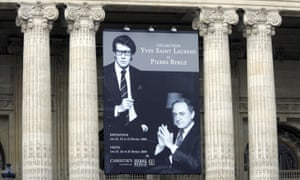 A board advertising the auction of the Yves Saint Laurent and Pierre Bergé collection in Paris in 2009.