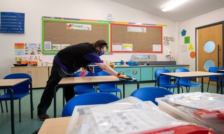 Tables being disinfected at a primary school near Norwich