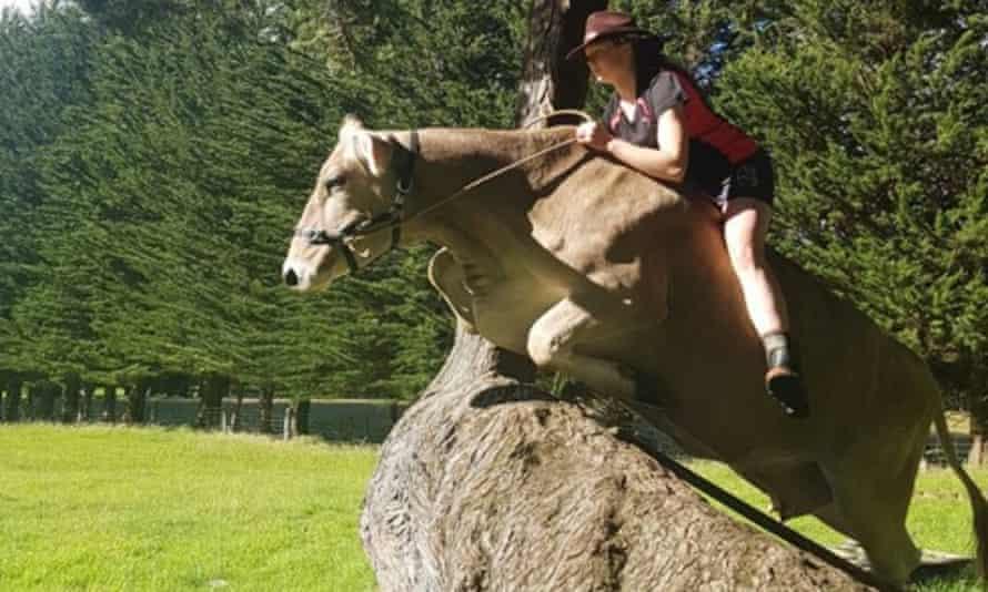 Hannah Simpson rides her cow Leila