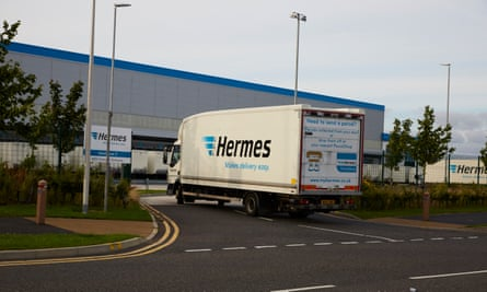 A Hermes delivery lorry