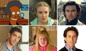 (Clockwise from top left) Apu Nahasapeemapetilon voiced by Hank Azaria (The Simpsons), Lena Dunham as Hannah Horvath (Girls), Aiden Turner as Captain Ross Poldark , Jerry Seinfeld, Matt Lucas as Vicky Pollard (Little Britain), and David Schwimmer as Ross Geller (Friends).
