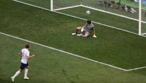 Kane celebrates scoring England's sixth.