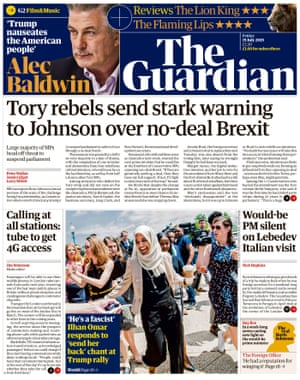 Guardian front page, Friday 19 July 2019