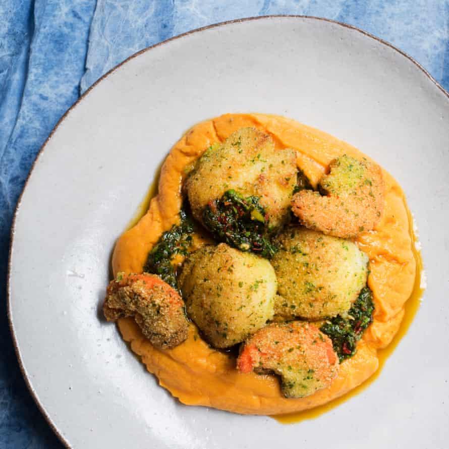 Polenta crumbed scallops, sweet potato mash Nigel Slater October 2018 Observer Food Monthly OFM