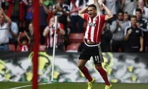Southampton's Dusan Tadic celebrates as Saints take control against Norwich.