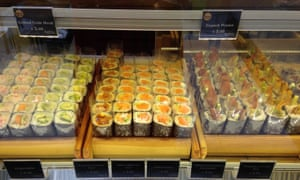 Individually wrapped sushi rolls