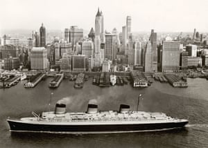 The SS Normandie arrives in New York in the 1930s