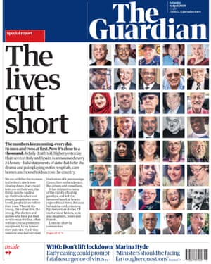 Guardian front page: 'The lives cut short'