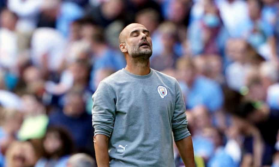 Pep Guardiola looks frustrated during Manchester City's goalless draw with Southampton
