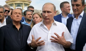Former Italian prime minister Silvio Berlusconi, Russian president Vladimir Putin and Sevastopol's Moscow-appointed governor, Sergei Menyailo