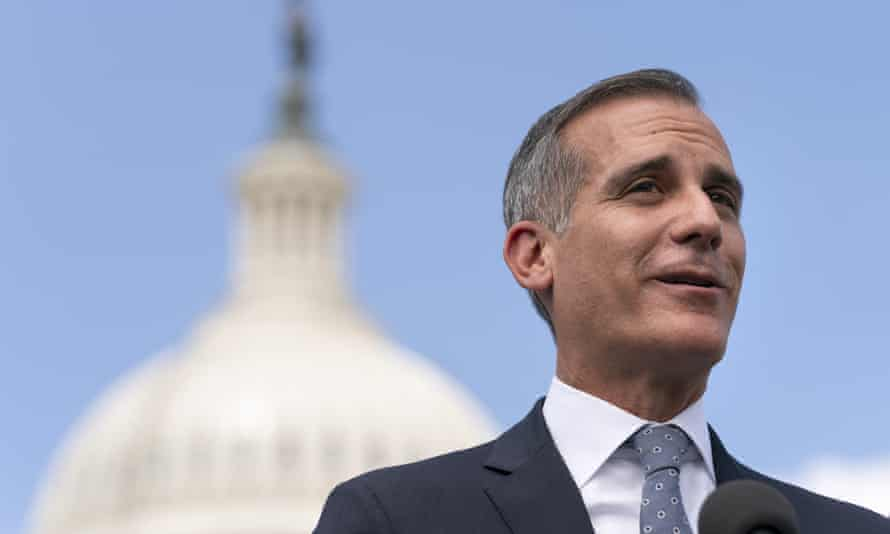 Eric Garcetti speaks during a news conference on Capitol Hill in Washington.