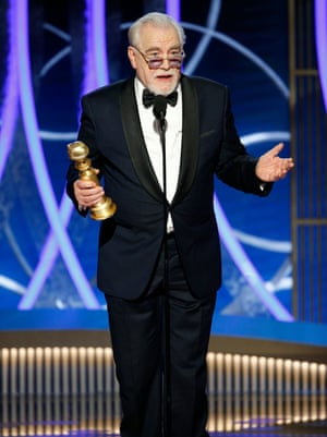 Brian Cox accepts the award for best actor in a TV series for his role as media magnate Logan Roy in Succession