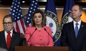 Speaker of the House Nancy Pelosi, accompanied by House Judiciary committee chairman Rep Jerrold Nadler, left, and House Intelligence committee chairman Adam Schiff, speaks during a news conference to announce impeachment managers