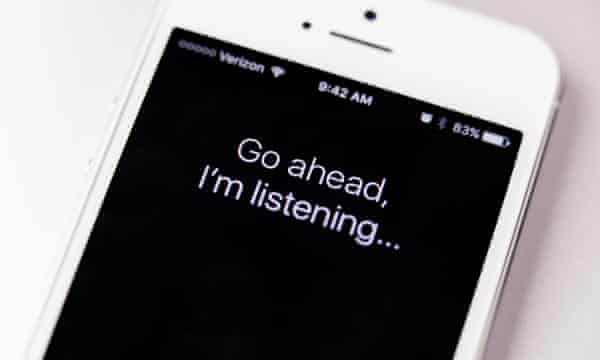 An iPhone with Siri working on screen