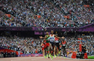 Mo Farah of Great Britain reacts as he crosses the finishing line to win the men's 5000m on day fifteen of the London 2012 Olympic Games at the Olympic Stadium on August 11, 2012.