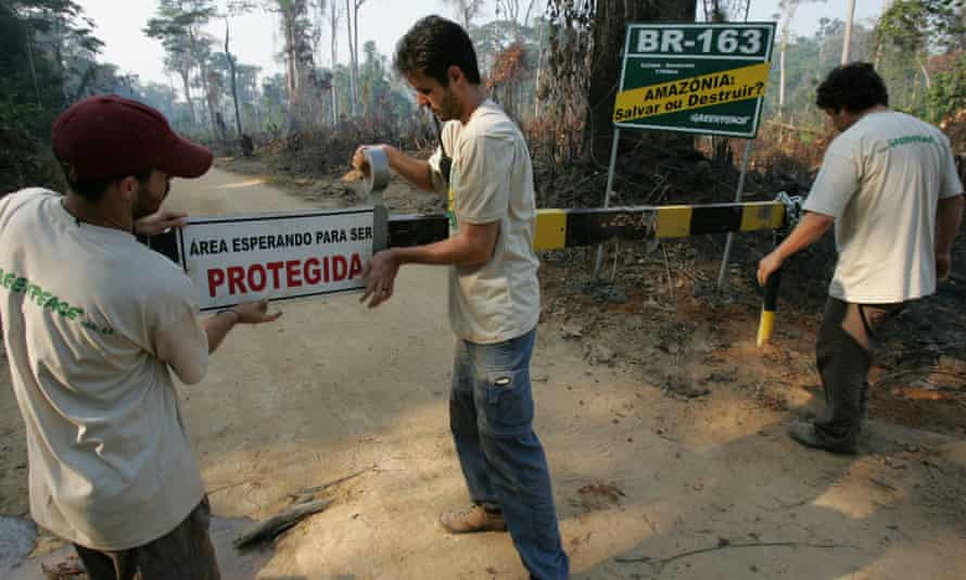 Greenpeace activists block a 135km illegal road, in the National Forest of Altamira, Brazil. The road cuts directly through the National Forest and is used for illegal logging operations and deforestation inside the protected area.