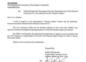 DoJ letter Panama Papers
