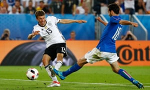 Thomas Muller fires in a shot at goal which is cleared off the line by Florenzi.
