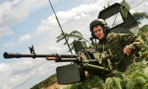 A Belarusian soldier in a tank taking part in Zapad 2017.