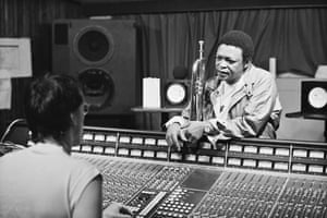 Hugh Masekela inside Zomba recording studios in Harlesden, London, August 1984
