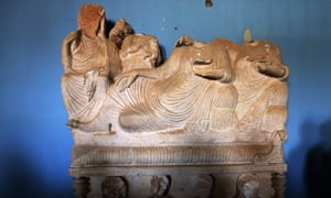 Beheaded statues at the museum in Palmyra