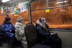 Passenegrs on a trolleybus in the centre of Murmansk