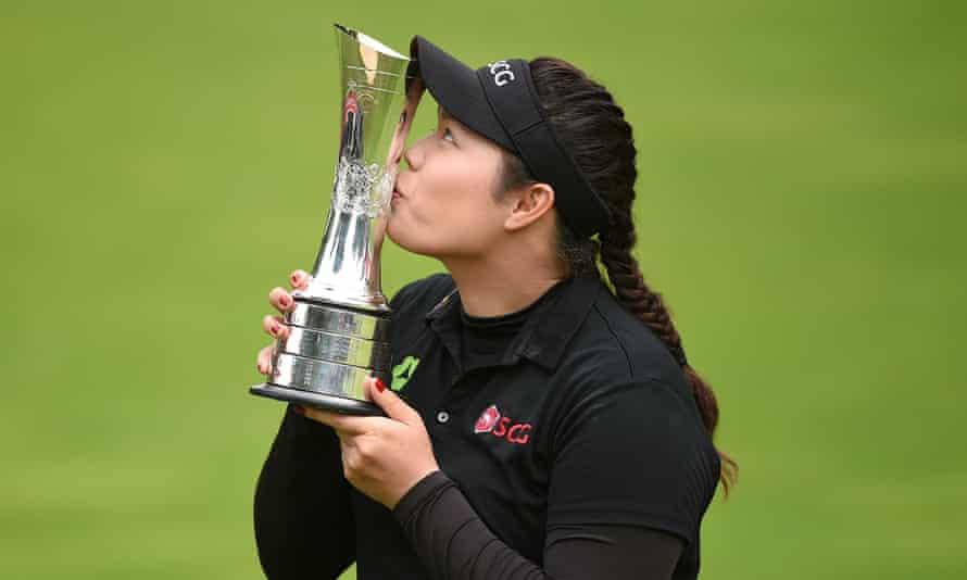Ariya Jutanugarn of Thailand kisses the trophy following her British Open victory at Woburn.