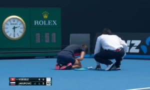 Slovenia's Dalila Jakupović during the coughing fit that forced her to retire during her Australian Open qualifying match