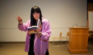 Ryka Aoki gives a speech at Watson Theater of Syracuse University.