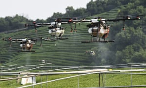 Drones spraying pesticides in China are an example of their cost-saving commercial usages.