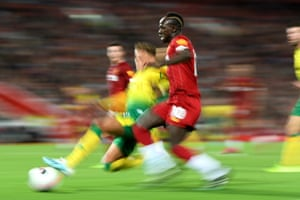 Sadio Mane of Liverpool runs at the Norwich City defence.