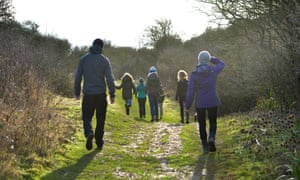 Family on a winter walk in the afternoon sun.