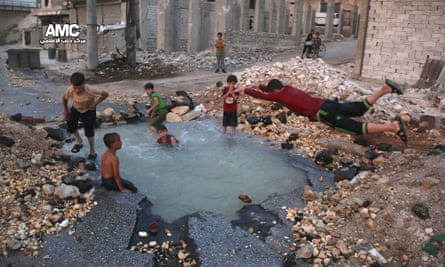 Destroyed area in the rebel-held neighbourhood of Sheikh Saeed, Aleppo, Syria.