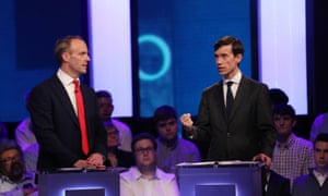 Dominic Raab (left) and Rory Stewart during the live Channel 4 debate.