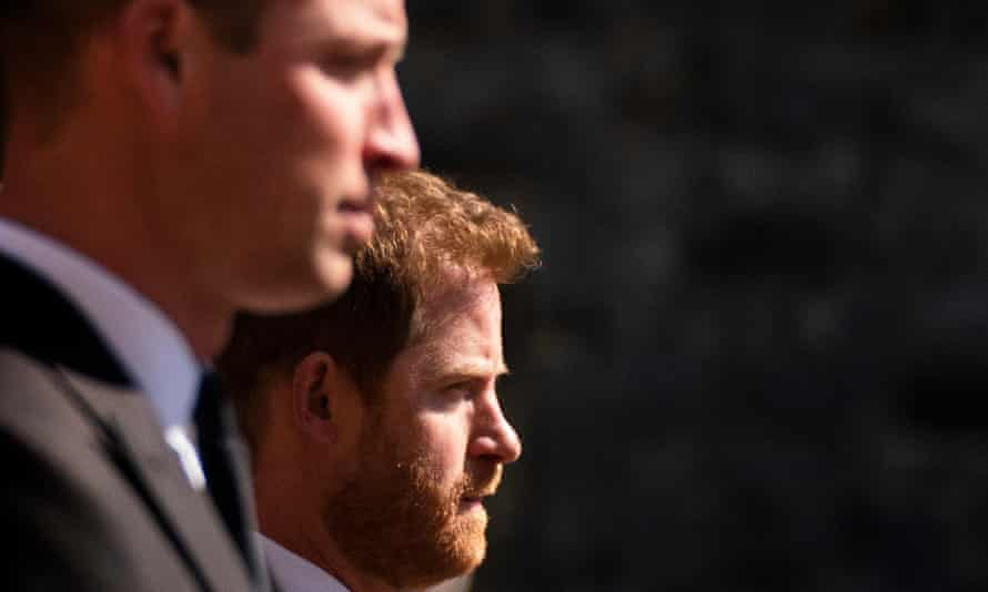 Prince William and Prince Harry together at the funeral of the Duke of Edinburgh.