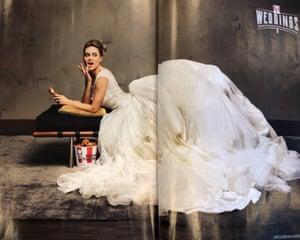 A model bride in the KFC Wedding promotion in Harper's Bazaar