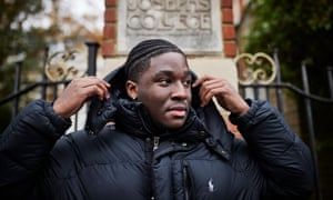 Josiah, a young man who took his A levels last year and has been battling with St Joseph's College, SE19, to get his results adjusted after the infamous algorithm marked him down. London. Photograph by David Levene 20/11/20 Josiah Elleston