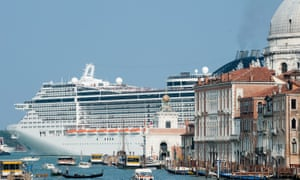 MSC Divina leaves Venice by St Mark's Basin.