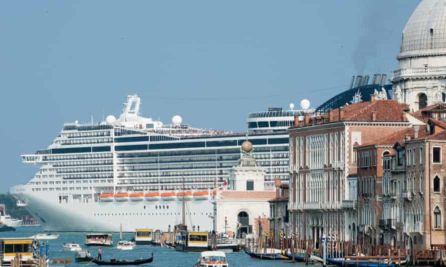 MSC Divina leaves Venice by St Mark's Basin.