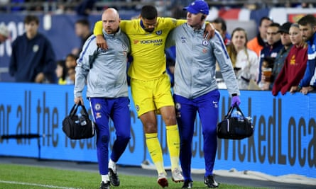 Ruben Loftus-Cheek is helped off the pitch by Chelsea medical staff during the friendly against New England Revolution.