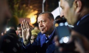 Recep Tayyip Erdoğan acknowledges supporters in Istanbul after claiming victory in the Turkish referendum.