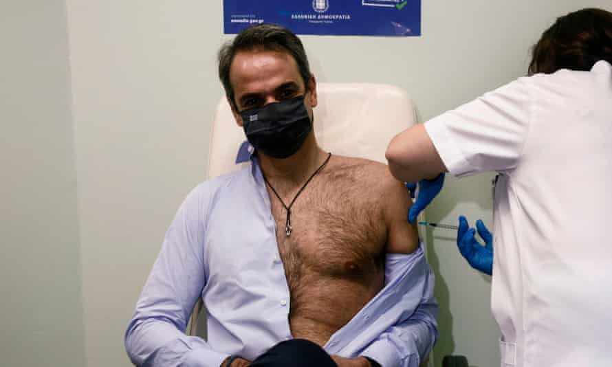 Greek Prime Minister Kyriakos Mitsotakis is vaccinated