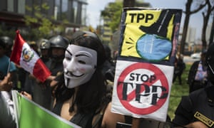 Anti-TPP protesters at the Apec meeting in Peru in November.