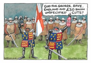 """""""God for George, Dave, England and £30 billion unspecified cuts"""" - published Guardian, 12 December 1996 Steve Bell imagines Prime Minister David Cameron as Shakespeare's Henry V and Chancellor of the Exchequer George Osborne as his standard bearer. Parodying Henry V's famous battle cry, Cameron proclaims his party's proposed cuts to government spending. Both he and Osborne have, Bell suggests, lost their heads. The Conservative Party's 2015 election manifesto's pledged budget cuts amounting to £30 billion"""